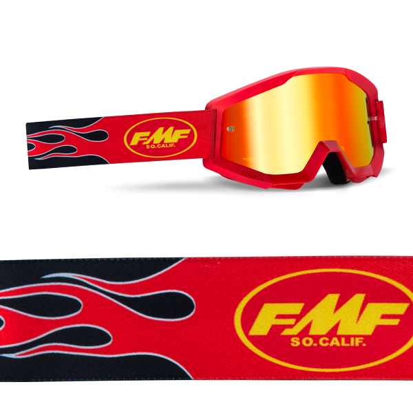 Goggles FMF POWERCORE MX. flame Red-Mirror Red lens.